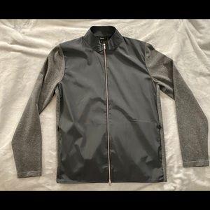 NEW Theory Bellvil Pique Zipper Sweater Small Gray